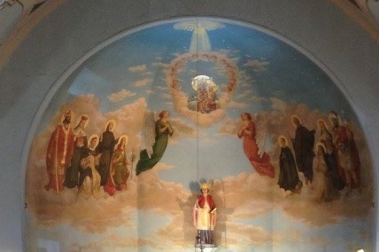 Above the altar, St. Stanislaus church