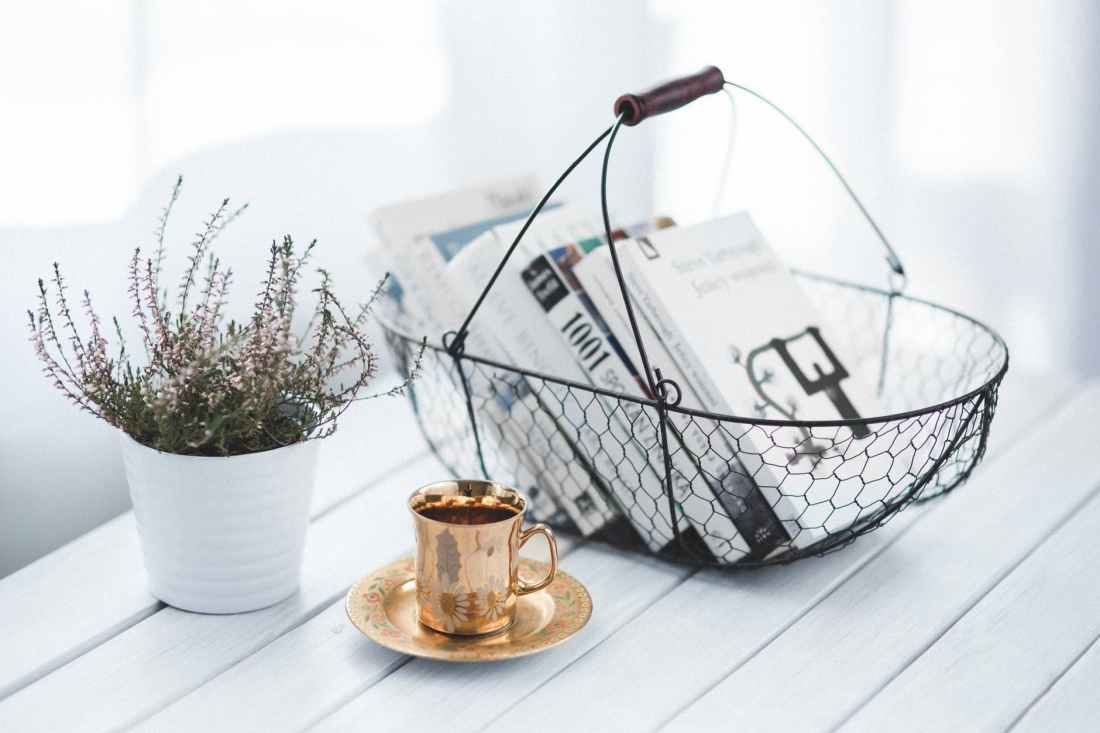 Basket of books, cup of tea